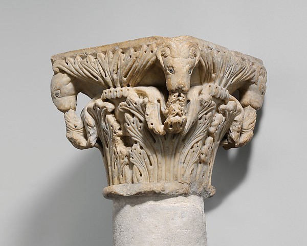 Capital, Marble (Naxian marble from island of Naxos (Greece), hardstone and lead inlay, South Italian
