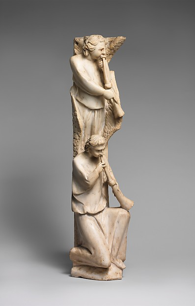 Pilaster of Angels Sounding Trumpets from the Parapet of a Pulpit, Workshop of Giovanni Pisano (Italian, Pisa ca. 1240–before 1320 Siena), Marble (Lunense from Carrara), traces of paint, Central Italian