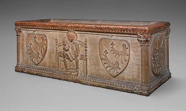 Sarcophagus with Virgin and Child and the Arms of the Sanguinacci Family, Red limestone, North Italian