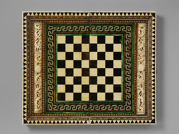 Game Board, Bone, wood, horn, stain and gilding over wood core with metal mounts, Italian