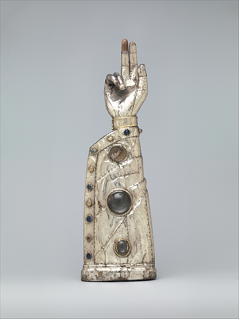 Arm Reliquary, Silver, silver-gilt, glass and rock crystal cabochons over wood core, French