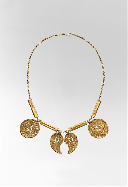 Gold Necklace with Pendants, Pendants: gold - sheet; scribed, engraved, chased, punched; wire - beaded; granulation.  Tubes: gold - sheet; wire - beaded.  Chain: gold - strip (half round)., Byzantine