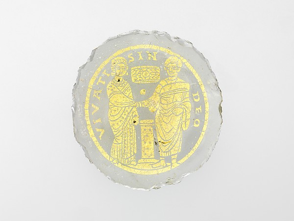 Bowl Base with a Marriage Scene, Glass, gold leaf, Roman or Byzantine