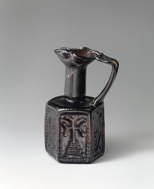 Hexagonal Jug, Moulded glass, Byzantine