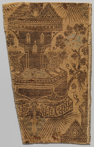 Textile with Architectural Fountain Guarded by Lions, Silk, metal thread, Italian