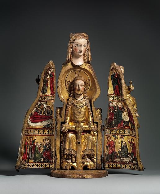 Shrine of the Virgin, Oak, linen covering, polychromy, gilding, gesso, German