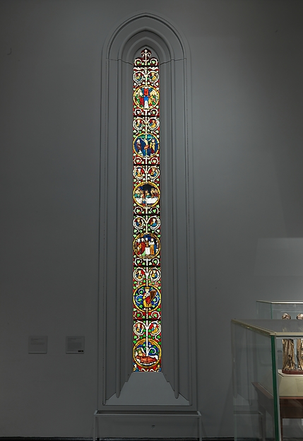 Tree of Jesse Window: The Reclining Jesse, King David, and Scenes from the Life of Jesus, Pot-metal glass, vitreous paint, and lead, German