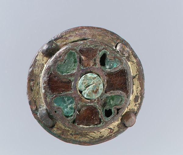 Disk Brooch, Copper alloy, gilded, mother-of-pear; garnets and green glass inlaid with silver foil backings; copper alloy back, no spring/pin extant, Frankish