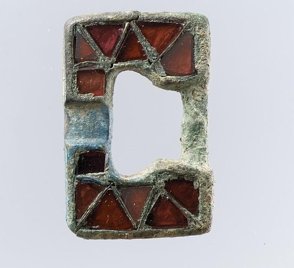 Belt Buckle Loop, Copper alloy, garnets, Frankish