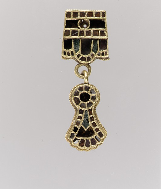Collar Pendant, Gold - sheet; cells - garnets (patterned foil), glass (green); wire - beaded.  Suspension Loops: gold - rod., Ostrogothic