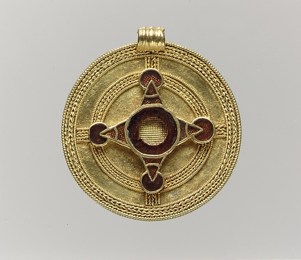 Pendant, Gold with garnets, Anglo-Saxon