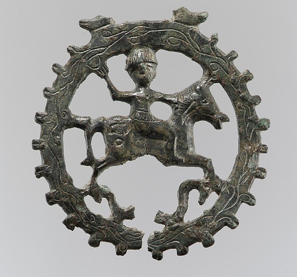 Harness Pendant, with Mounted Horseman, Copper alloy, Visigothic