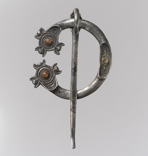 Open-Ring Brooch, Silver, cast and partially gilded; amber cabochons, Pictish or Irish
