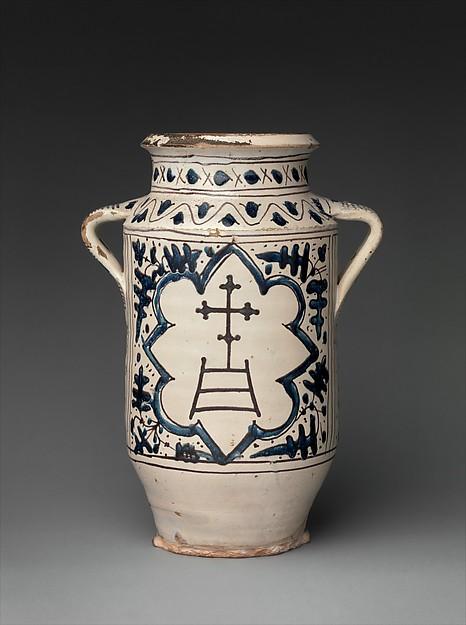 Pharmacy Jar with the Arms of the Hospital of Santa Maria della Scala, Tin-glazed earthenware, Italian