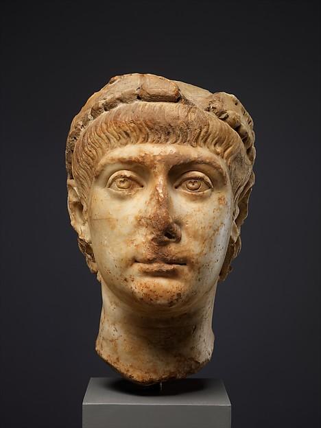 Head of Emperor Constans (r. 337–50), Marble, Byzantine