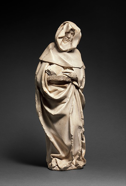 Mourner, Étienne Bobillet (Franco-Netherlandish, active Bourges, 1453), Alabaster with traces of gilding, French