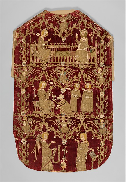 Chasuble (Opus Anglicanum), Silver and silver-gilt thread and colored silks in underside couching, split stitch, laid-and-couched work, and raised work, with pearls on velvet, British
