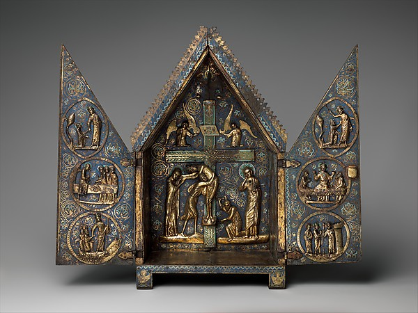 Tabernacle of Cherves, Copper (plaques): engraved, scraped, stippled, and gilt; (appliqués): repoussé, chased, engraved, scraped, and gilt; champlevé enamel: medium blue, turquoise, medium green, yellow, red, and white, modern wood mount, French