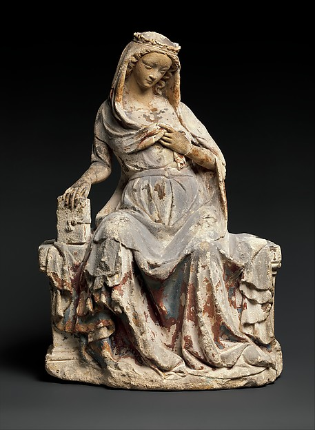 Virgin of the Annunciation, Limestone, traces of paint, French