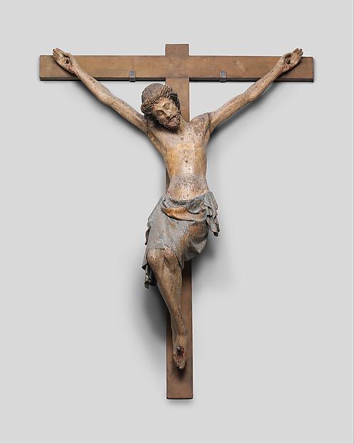 Crucifix, Oak, polychromy, French