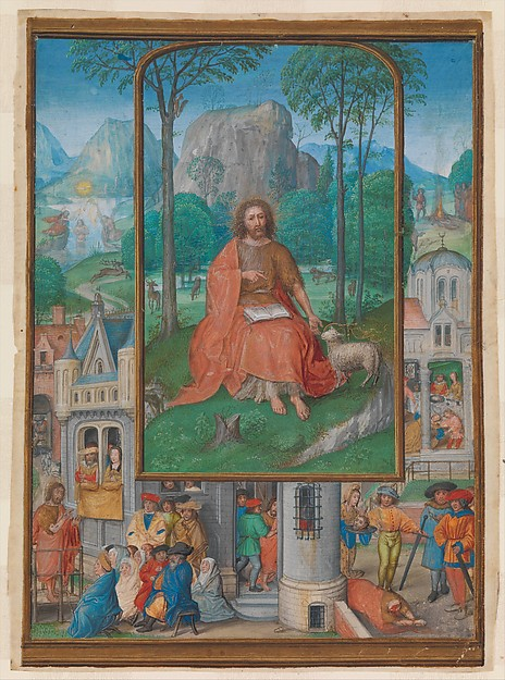 Manuscript Illumination with Scenes from the Life of Saint John the Baptist, Master of James IV of Scotland (probably Gerard Horenbout) (South Netherlandish, active ca. 1485–1530), Tempera, ink, and shell gold on parchment, South Netherlandish