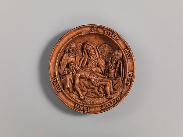 Half of a Prayer Bead with the Lamentation, Boxwood, silver, Netherlandish