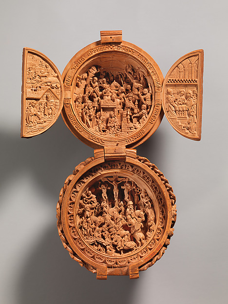 Prayer Bead with the Adoration of the Magi and the Crucifixion, Boxwood, Netherlandish