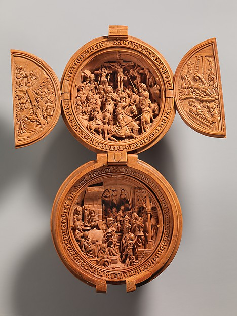 Prayer Bead with the Crucifixion and Jesus before Pilate, Boxwood, Netherlandish