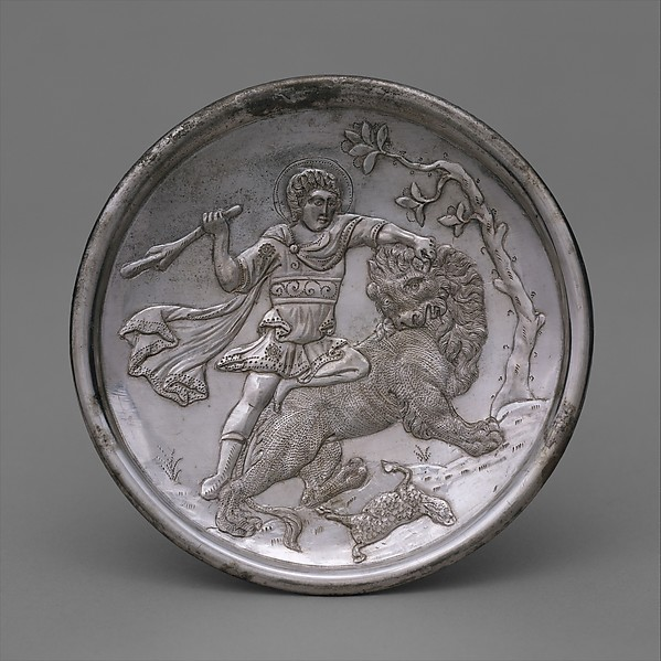 Plate with David Slaying a Lion, Silver, Byzantine