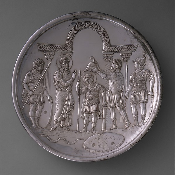 Plate with the Arming of David, Silver, Byzantine