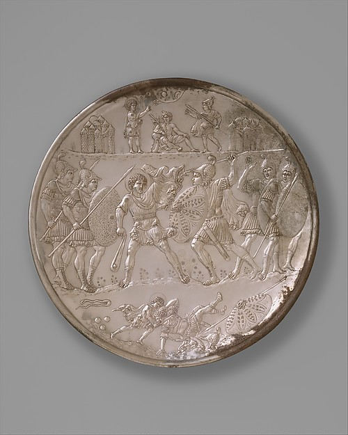 Plate with the Battle of David and Goliath, Silver, Byzantine