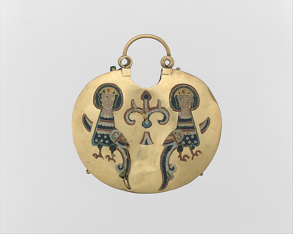 Temple Pendant with Two Sirens Flanking a Tree of Life (front) and Confronted Birds (back), Cloisonné enamel, gold, Kievan Rus'