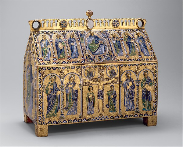 Chasse with the Crucifixion and Christ in Majesty, Copper: engraved, chiseled, stippled, and gilt; champlevé enamel: dark, medium, and light blue; turquoise, dark and light green, yellow, red, and white; wood core, painted red on exterior, French