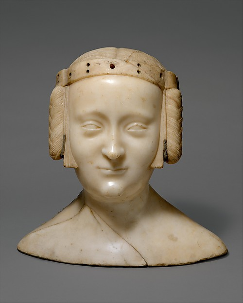 Tomb Effigy Bust of Marie de France (1327-41), daughter of Charles IV of France and Jeanne d'Evreux, Jean de Liège (Franco-Netherlandish, active ca. 1361–died 1381), Marble with lead inlays, French