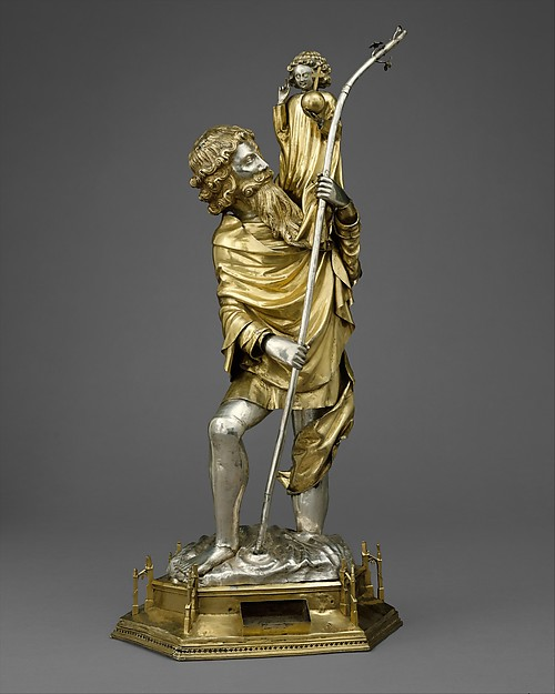 Reliquary Statuette of Saint Christopher, Silver, silver-gilt, French