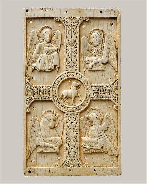 Plaque with Agnus Dei on a Cross between Emblems of the Four Evangelists, Ivory, South Italian