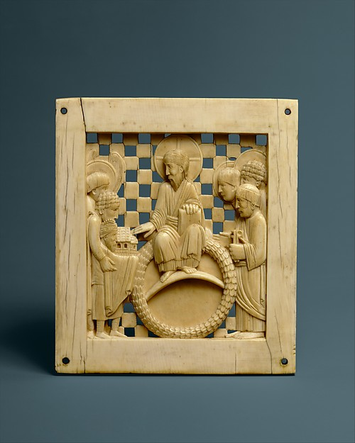 Plaque with Christ Receiving Magdeburg Cathedral from Emperor Otto I, Ivory, Ottonian