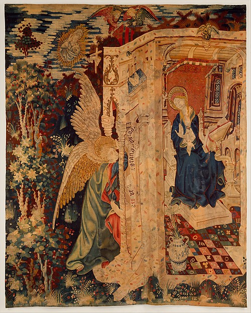 Tapestry with the Annunciation, Wool warp, wool with a few metallic wefts, South Netherlandish