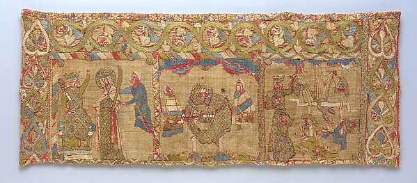 Stole with the Martyrdom of St. Catherine, Silk with linen underlay, German