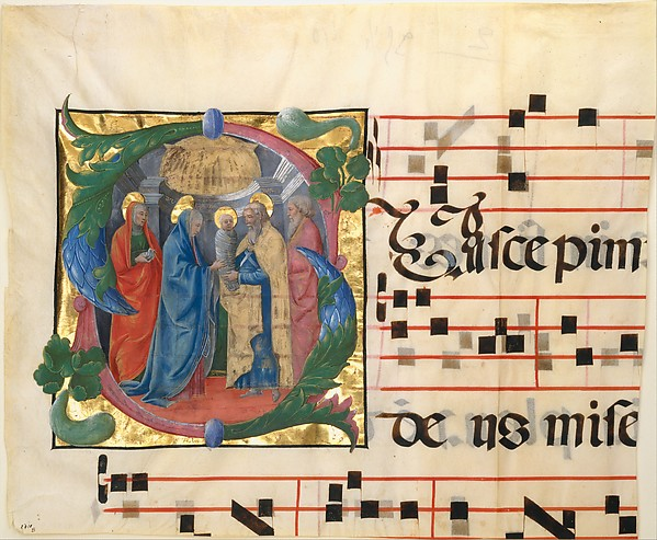 Manuscript Illumination with the Presentation in the Templ in an Initial S, from a Gradual, Attributed to Cosmè Tura (Cosimo di Domenico di Bonaventura) (Italian, Ferrara ca. 1433–1495 Ferrara), Tempera, ink, and gold on parchment, Italian