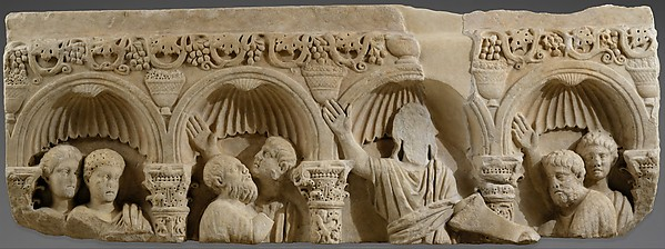 Fragment of a Marble Tomb Relief with Christ Giving the Law, Marble, Byzantine