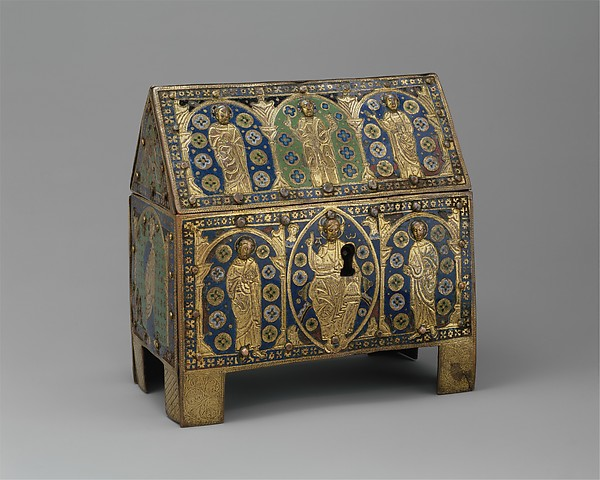Chasse with Christ in Majesty and Apostles, Copper: engraved, chiseled, stippled, gilt; champlevé enamel: blue-black, dark, medium, and light blue; turquoise, green, yellow, red, translucent red, and white, French