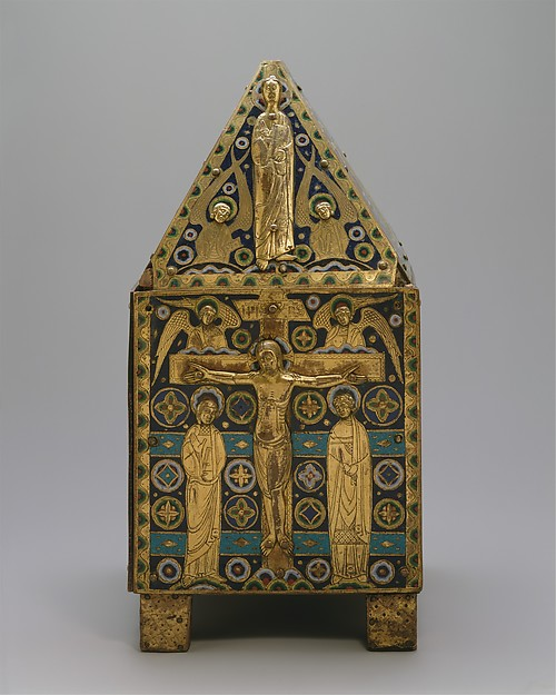 Tabernacle, Copper (plaques): engraved, scraped, stippled, and gilt; (appliqués): repoussé, chased, engraved, scraped, and gilt;  champlevé enamel: blue-black, dark, medium, and light blue; turquoise, dark and medium green, yellow, red, and white; wood core, painted red, French