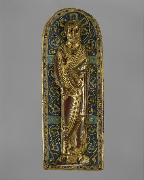 Plaque with Saint Peter, Copper (plaque): engraved, stippled, and gilt; (figure): repoussé, engraved, chased, scraped, and gilt; champlevé enamel: medium and light blue, turquoise, green, yellow, red, and white; blue-black glass inset eyes., French