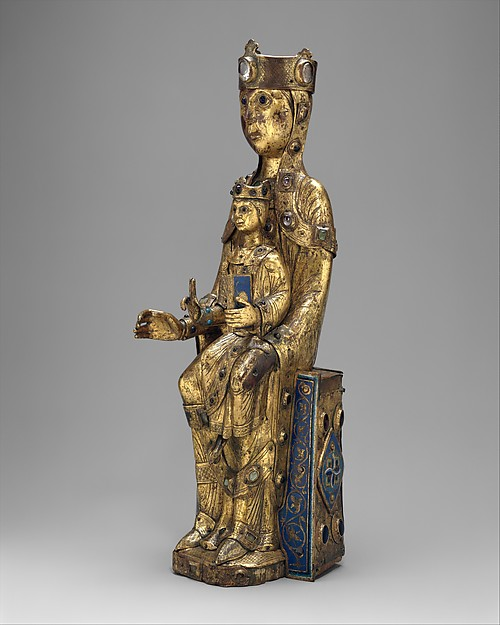 Virgin and Child, Copper: formed, repoussé, engraved, chased, scraped, and gilt; hands cast; champlevé enamel: dark, medium, and light blue; turquoise, green, yellow, red, and white; glass cabochons; wood core, French
