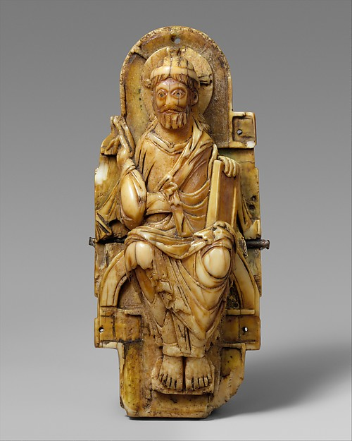 Pectoral with Christ and the Lamb of God and the Symbols of the Four Evangelists, Walrus ivory with gilt-copper sheets and copper alloy pin, British or North French