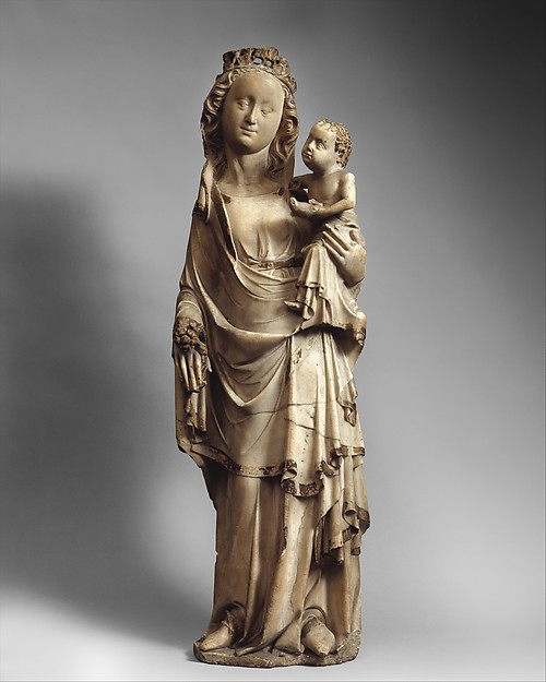 Virgin and Child, Marble with gilding, French