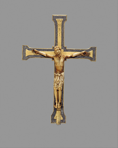 Reliquary Crucifix, Cross-silver, silver-gilt, niello; Corpus-Ivory, gilding, North Spanish