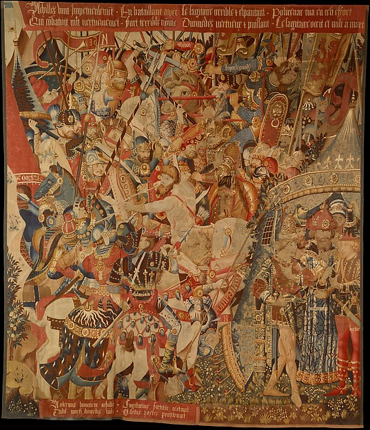 The Battle with the Sagittary and the Conference at Achilles' Tent (from Scenes from the Story of the Trojan War), Probably produced through Jean or Pasquier Grenier of Tournai, Wool warp, wool wefts with a few silk wefts, South Netherlandish