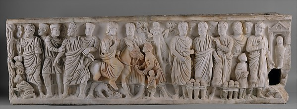 Sarcophagus with Scenes from the Lives of Saint Peter and Christ, Marble, Roman